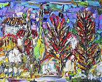 Картина 119. Къщи в гората. Художник Стефан Прокопиев. Маслени бои върху платно. Размер: 50 х 40 см. Цена: 400 лв.